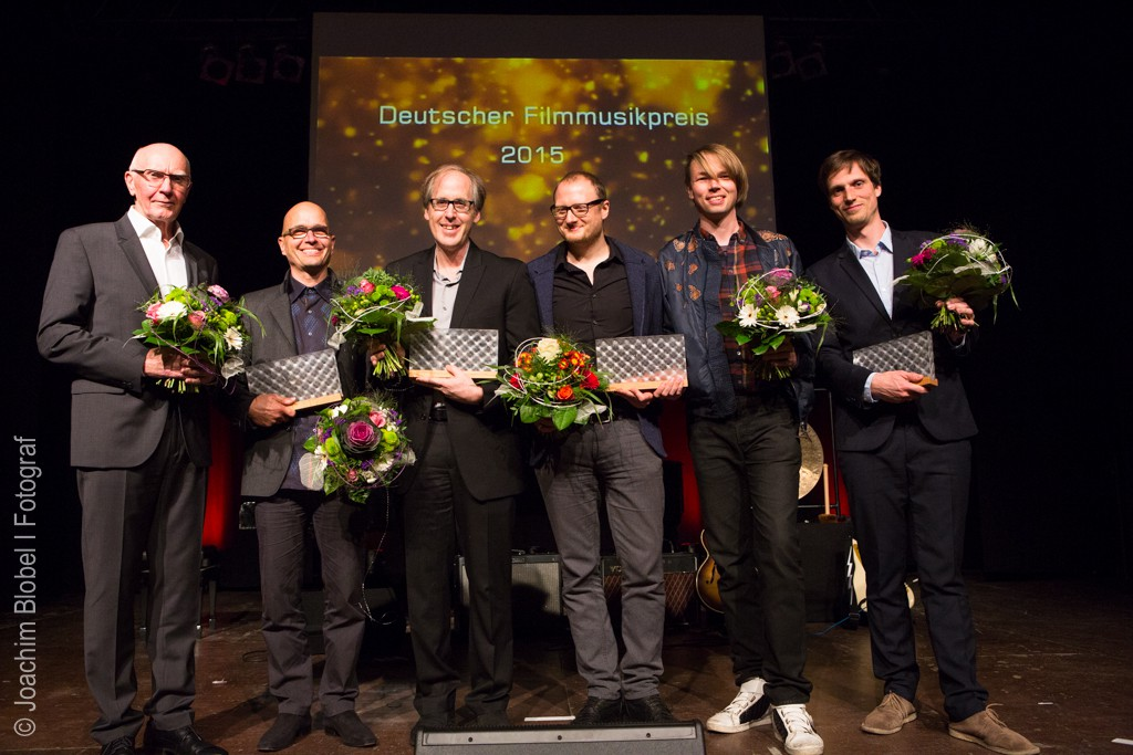 © Joachim Blobel: Preisträger Deutscher Filmmusikpreis 2015 - Bernd Wefelmeyer, Loy Wesselburg, Jeff Beal, Olaf Taranczewski, Frank Zerban, Leonard Petersen (vlnr.)